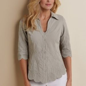 Soft Surroundings Work of Art Shirt Size XL Silver